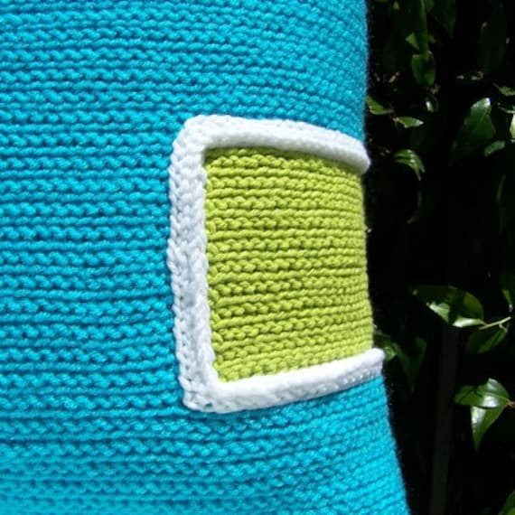 Crochet Throw Pillow Turquoise/Lime, Decorative Pillow, 18 x 18