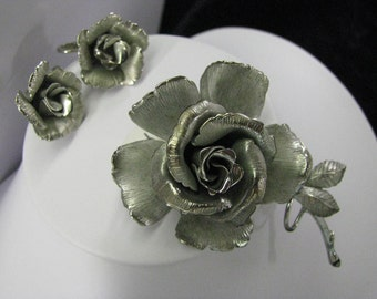 LISNER, Rose Brooch and Earrings