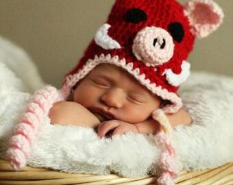 Newborn Pink and Red Razorback Hat, Baby Girl Razorback Hat, Baby Arkansas Hat, Photo Prop Razorback Hat, Crochet Razorback Hat,