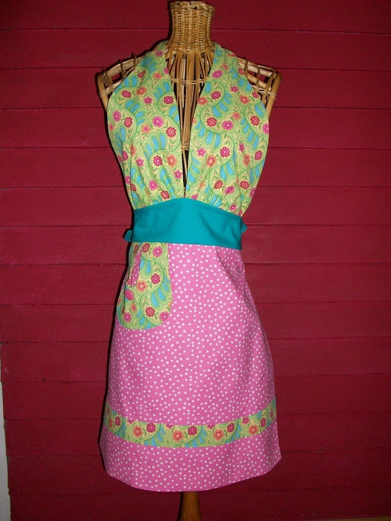Flirty Halter Pink Polka Dot Womens Hostess Apron with Green and Pink Print and Turquoise