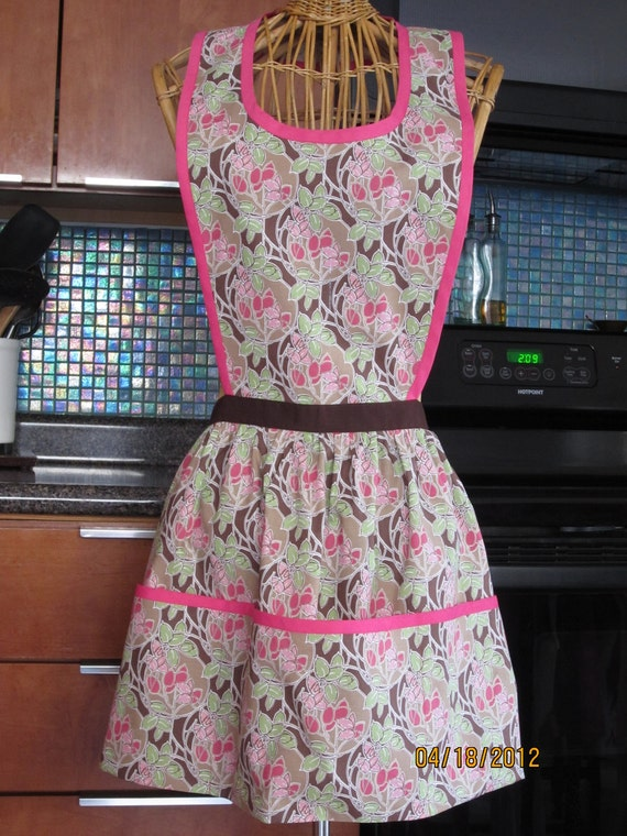 Plus XL Size Pink and Brown Floral Hostess Apron in the Diana style