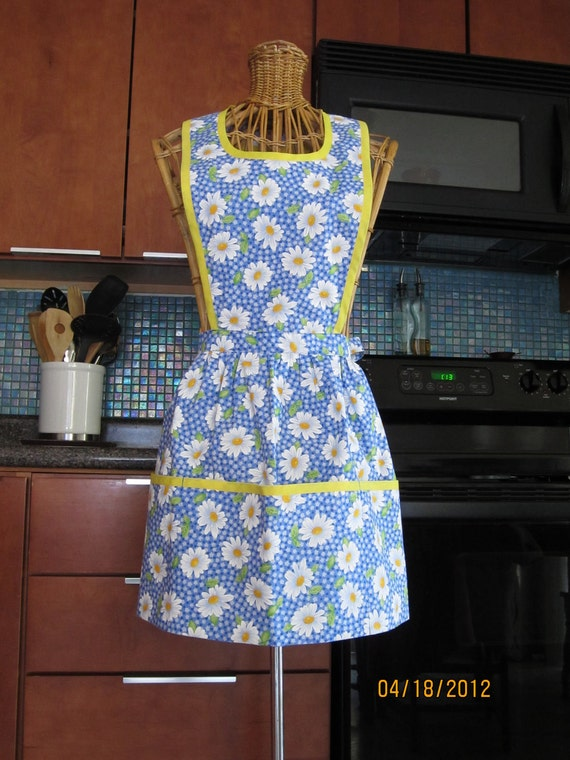 Blue Daisy Hostess Apron With Yellow Trim and deep pockets