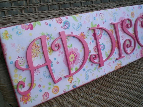 items similar to pink and green letters pottery barn With pottery barn name letters