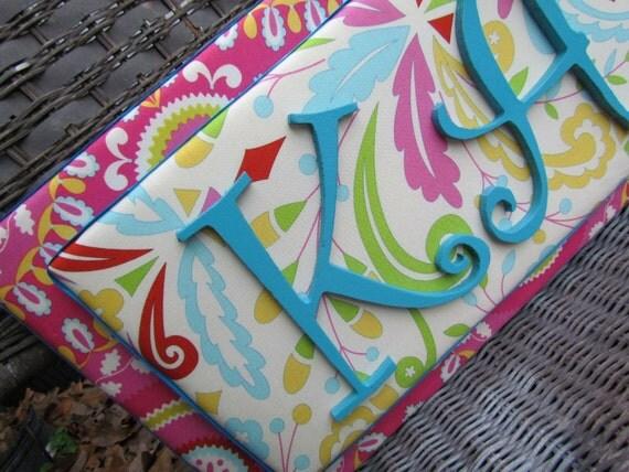Kumari Garden Nursery, Stacked Name Plaque, Nursery Letters, Fabric Letters, Hot Pink Nursery