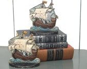 Vintage Pirate Ship Bookends Book Ends Nautical