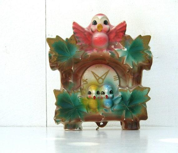 Vintage Wall Pocket Cuckoo Clock Japan Colorful Birds Vase
