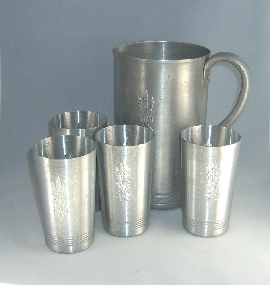 RESERVED 5 Piece Pitcher And Cup Set West Bend Aluminum