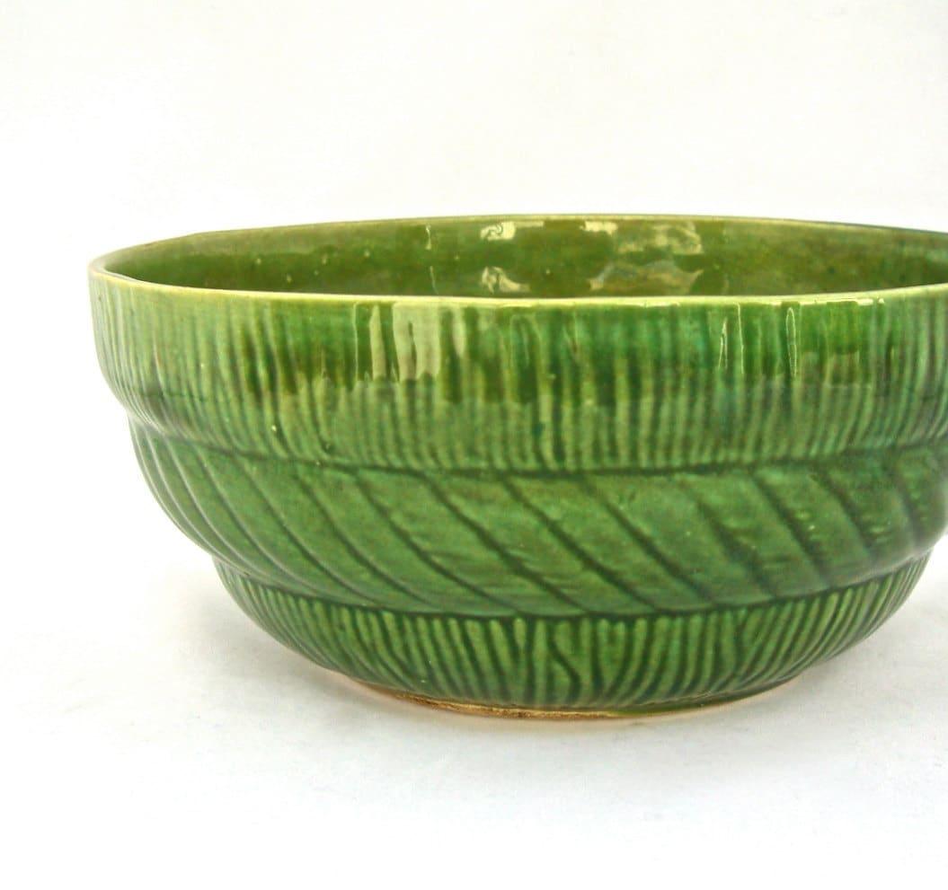 Vintage Pottery Bowl Grass Green