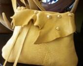 golden yellow deerskin leather shoulder purse or hip bag