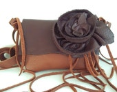brown leather handbag with removable flower rose and fringe reserved for S