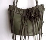 olive green leather handbag with ruffle, flower and fringe by Tuscada. Ready to ship.