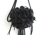 black leather  handbag, shoulder purse, messenger  with flower and fringe.  Tuscada,  Made to order.