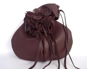 brown leather handbag wristlet with flower and fringe, by Tuscada. Made to order.