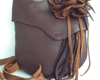 brown, leather bag with deep tan flower and fringe, messenger, hip bag by Tuscada. Made to order.
