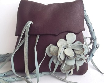 Brown deerskin leather shoulder purse with a  blue green flower by Tuscada. Ready to ship.