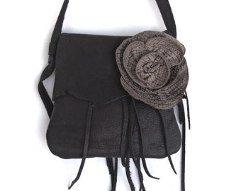 black  buffalo leather handbag, messenger with taupe faux elephant  leather rose and fringe. By Tuscada. Ready to ship.