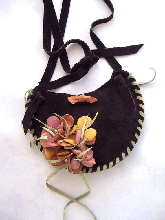 handbag brown suede leather shoulder purse or hip bag with flower. Reserved for Cathy