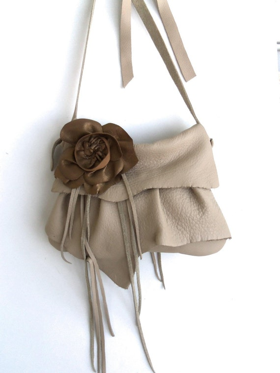 tan camel leather handbag with ruffle and gold rose flower  by Tuscada. Ready to ship.