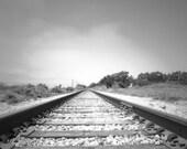 Black and white wall decor, train tracks, railroad photograph, fine art, monochromatic, geometric, Landscape Photography, 5x7