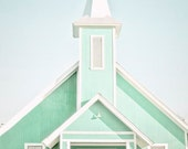 "Church Photography , Mint Wall Decor, Bright Pastel, Architecture, Spring Wall Decor ,Church Decor, ""Heres The Church Heres The Steeple"""