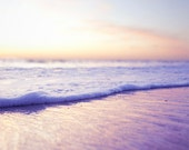 Summer Sunset Beach Photography- Ocean Waves-Home Decor-Fine Art Photography Spring Pastels Pink Purple Orance Ocean Waves 8x10 Photograph