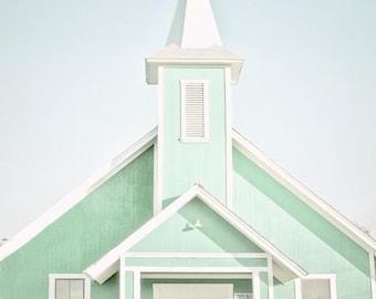Church Photograph, Mint Wall Art, Pastel, Religion, Church Wall Art, Wedding, Mint White Church Art