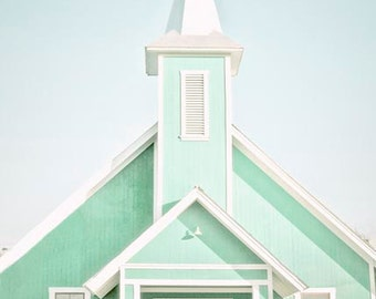 """Church Photography , Mint Wall Decor, Bright Pastel, Architecture, Spring Wall Decor ,Church Decor, """"Heres The Church Heres The Steeple"""""""