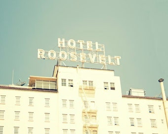 "Los Angeles Photography- Roosevelt Hotel, California Wall Art, Hollywood, Retro, Summer, Mint, Architecture Photograph, ""Roosevelt Hotel"""