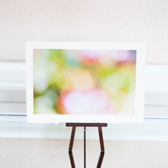 25% Off Spring Fresh 5x7 Photography Card-Easter Pastels Springtime Photography Green Pink Bokeh