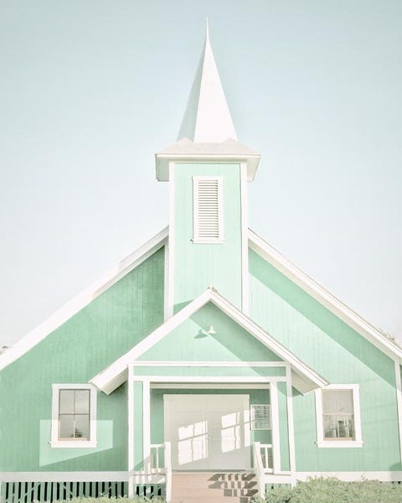 Church Photograph, Mint Wall Art, Pastel, Religion, Church Wall Art, Wedding, Mint White Church Art
