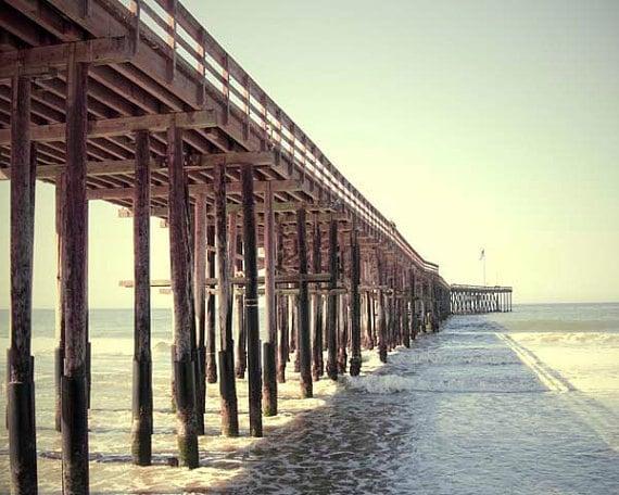 Ventura Pier Photograph, California, Beach Decor, Sea Green, Taupe, Pier Wall Art, Ventura Ca, Ocean, Sea, Sky