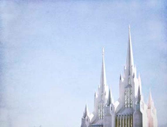 Fairytale Castle- Blue ,White -San Diego Temple LDS, Spring Fresh Geometric Architecture Print 8x10