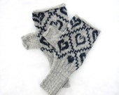 Nordic Heart Knitted Fairisle Hand warmers In Silver & Charcoal Grey