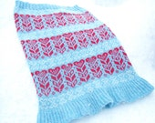Red & Blue Nordic Heart Design Knitted Fair isle Snood Cowl Neck warmer