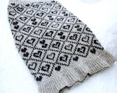Heart Design Knitted Fair isle Snood Cowl Neck Warmer Silver Grey/Gray