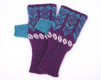 Purple & Blue Nordic Heart Knitted Fairisle Hand warmers