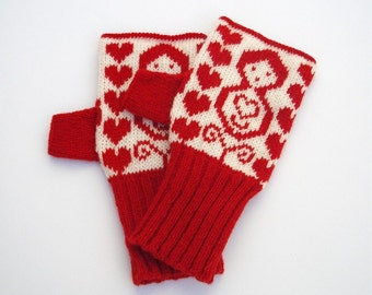 Red & White Russian Doll Knitted Fairisle Handwarmers