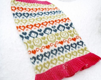 Russian Doll Hearts Knitted Fair isle Cowl Snood neck warmer