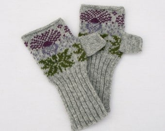 Knitted Scottish Thistle Fair Isle Hand warmers Lambswool Grey, purple & green