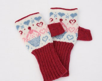 Cup Cake Knitted Fairisle Hand Warmers