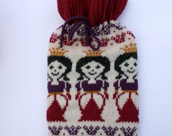 Knitted Girls Princess Fair isle Hot Water Bottle Cozy/ Cosy