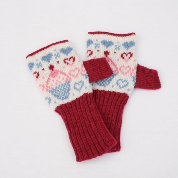 Cup Cake Knitted Fairisle Hand Warmers