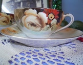 Antique Tea Cups with Saucers, Delicate Nippon , Handpainted Pair Tea Cups and Saucers