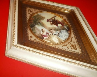 Vintage Wall Hanging, Creamy Dreamy Diamond Shaped Romance Picture by Turner Manufacturing