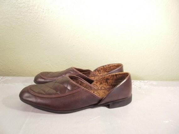 Vintage Mens Retro Chocolate Brown Opera Radio Time Slipper Shoe Size 8M