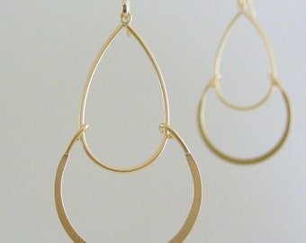Gold Earrings - Teardrop Earrings - Bridesmaid Earrings - Delicate Earrings - Dainty Curves - handmade jewelry
