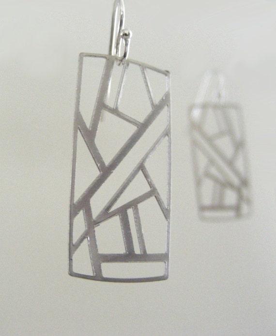 Earrings Silver Art Deco Geometric Abstract