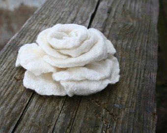 Rose brooch nuno felted pin  - gift under 25 gift idea - handmade - bridesmaid gift - Easter gift