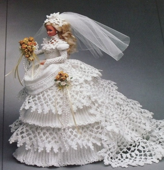 Annie S Attic 1993 Crochet Barbie Bride Doll Gown By 2oldhaggs
