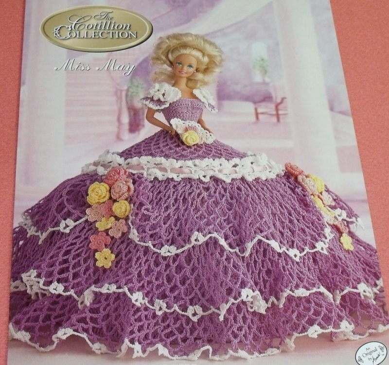 Miss May Cotillion Crochet Barbie Doll Dress Pattern by